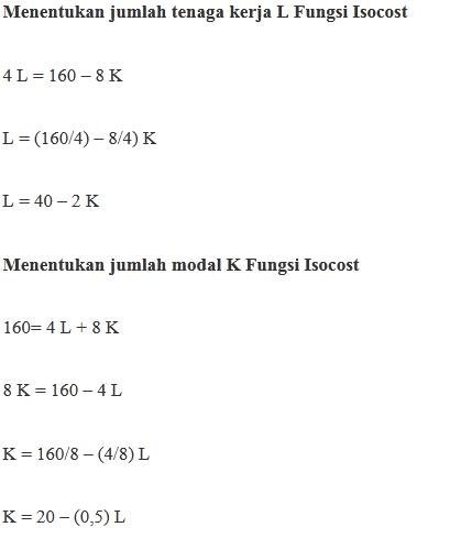 Contoh Soal Perhitungan Fungsi Produksi Isocost
