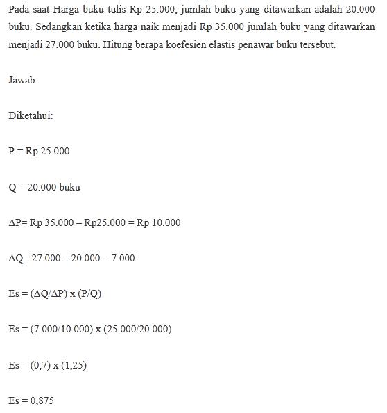 Contoh Soal Perhitungan Rumus Koefisien Penawaran Inelastis