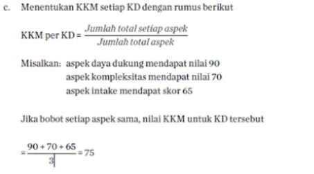 menetapkan nilai KKM setiap KD